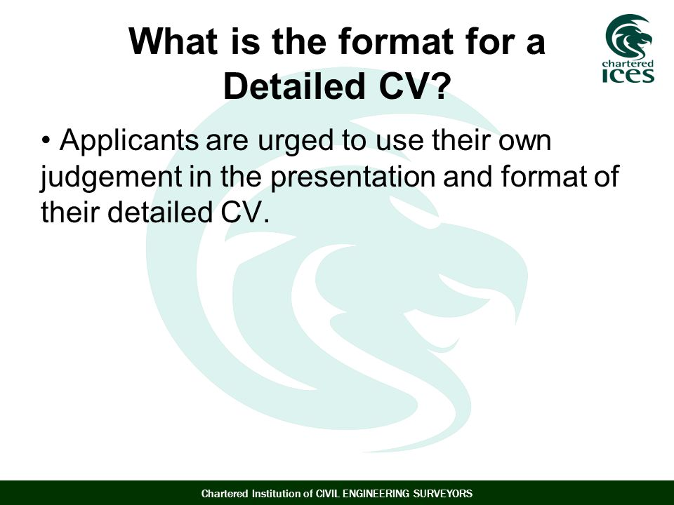 What is the format for a Detailed CV