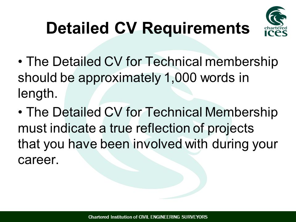 Detailed CV Requirements