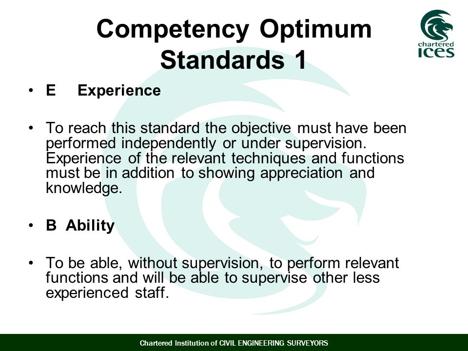 Competency Optimum Standards 1