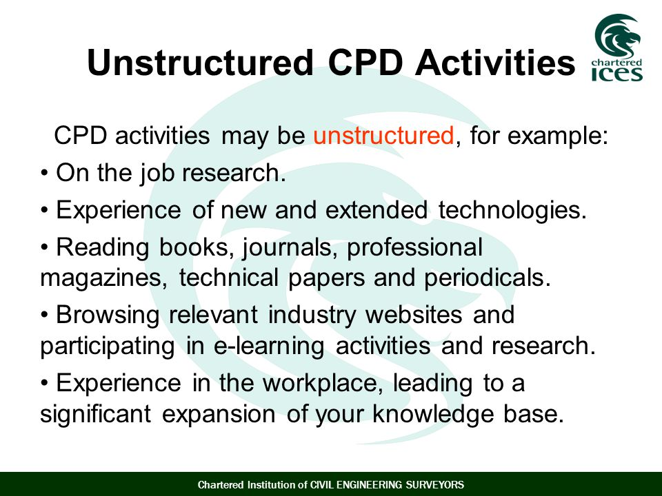 Unstructured CPD Activities