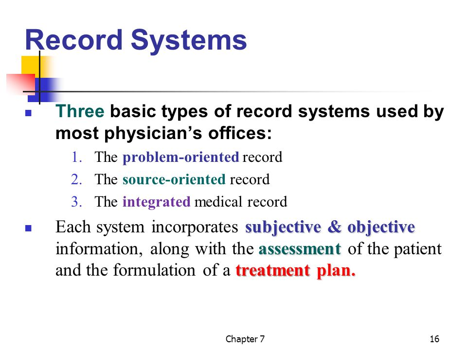 Record Systems Three basic types of record systems used by most physician's offices: The problem-oriented record.