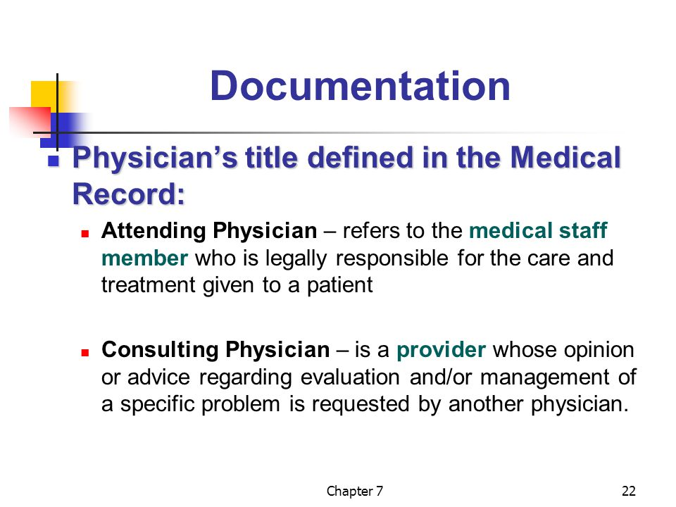 Documentation Physician's title defined in the Medical Record: