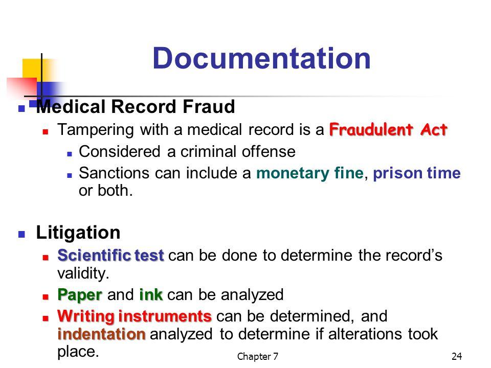 Documentation Medical Record Fraud Litigation