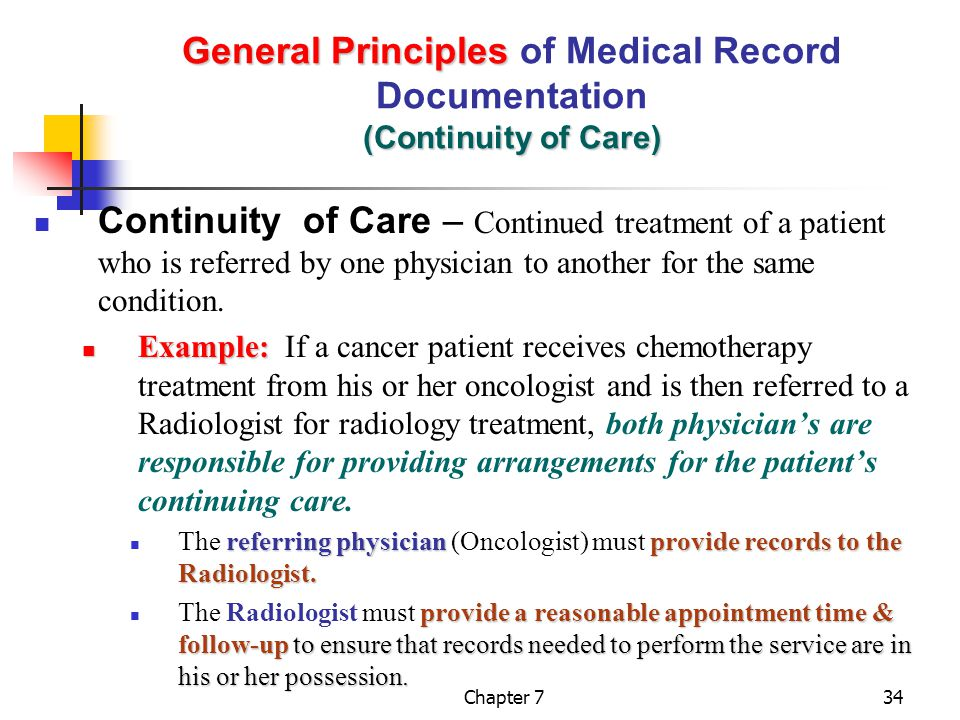 General Principles of Medical Record Documentation (Continuity of Care)