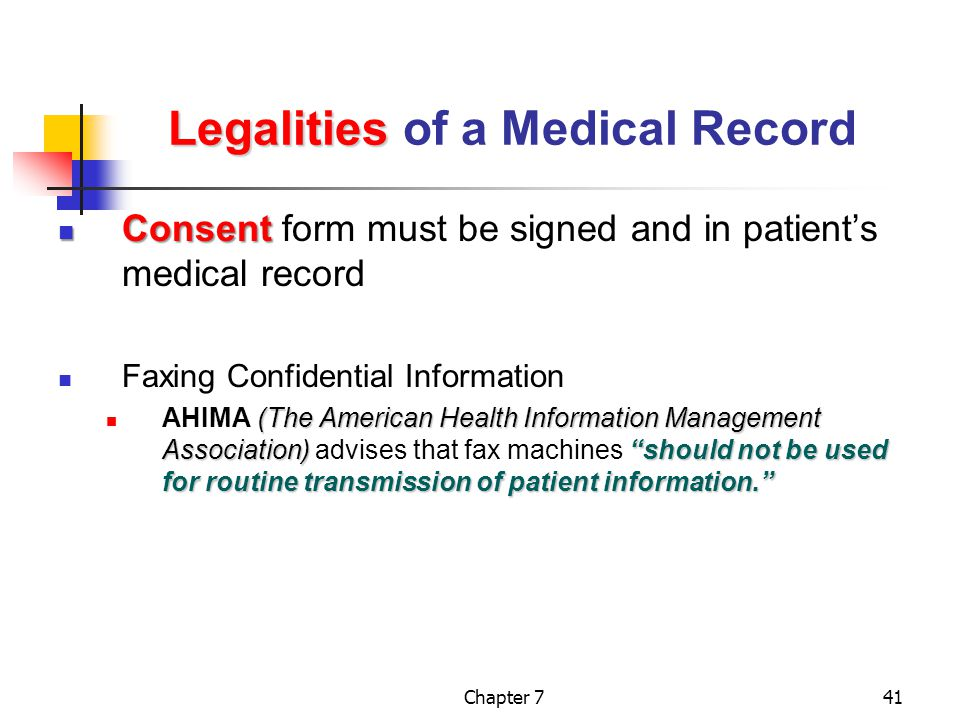 Legalities of a Medical Record