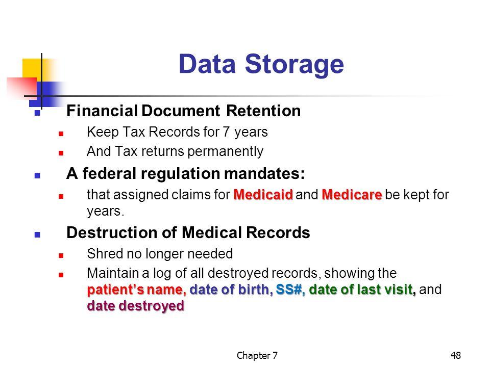 Data Storage Financial Document Retention