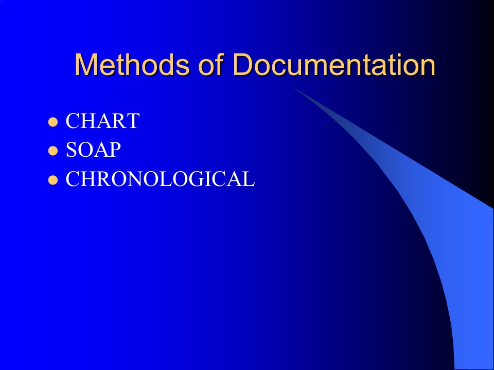 Methods of Documentation