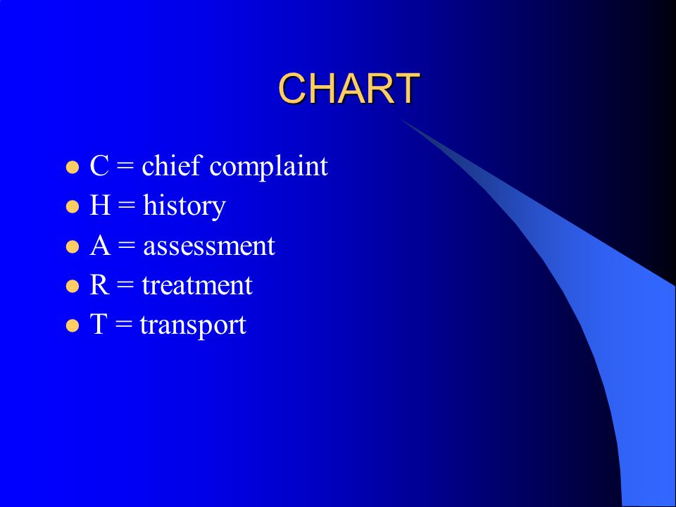 CHART C = chief complaint H = history A = assessment R = treatment