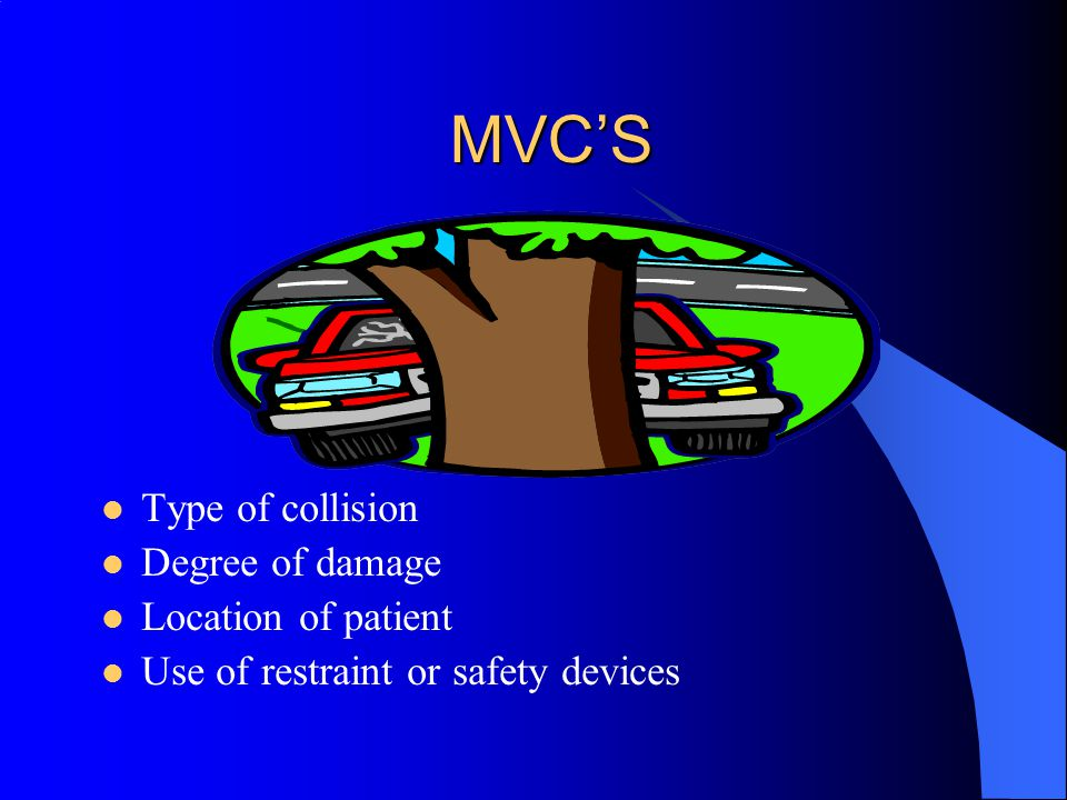 MVC'S Type of collision Degree of damage Location of patient