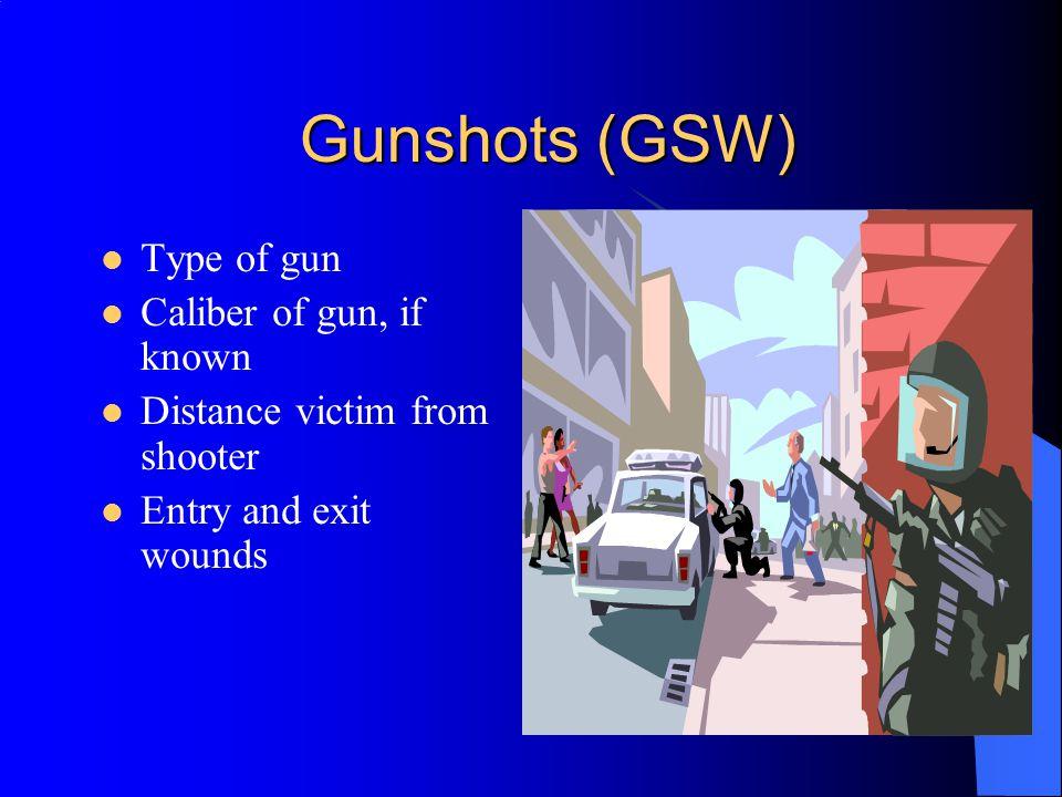 Gunshots (GSW) Type of gun Caliber of gun, if known