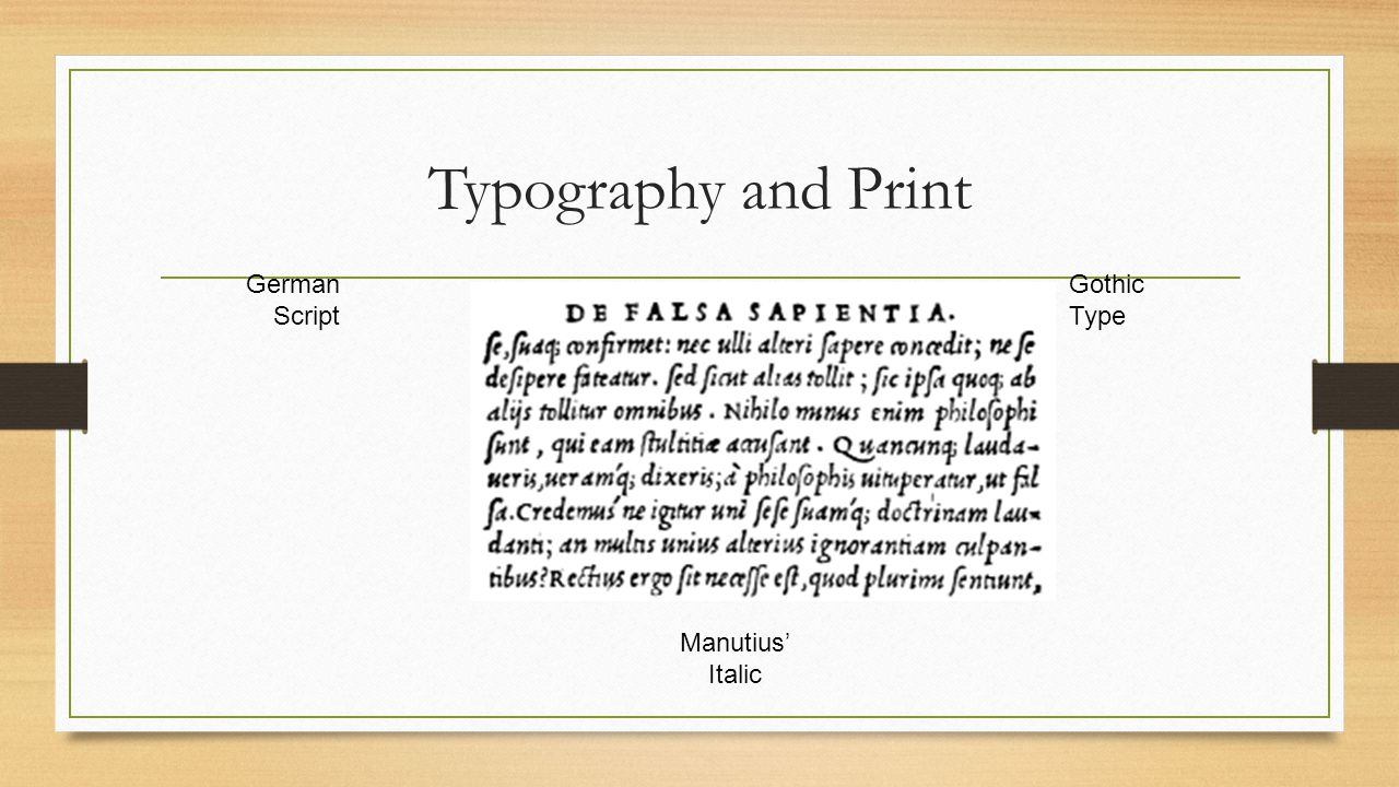 Typography and Print German Script Gothic Type Manutius' Italic