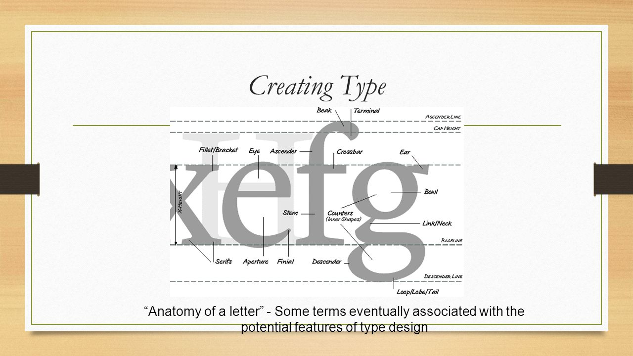 Creating Type Anatomy of a letter - Some terms eventually associated with the potential features of type design.