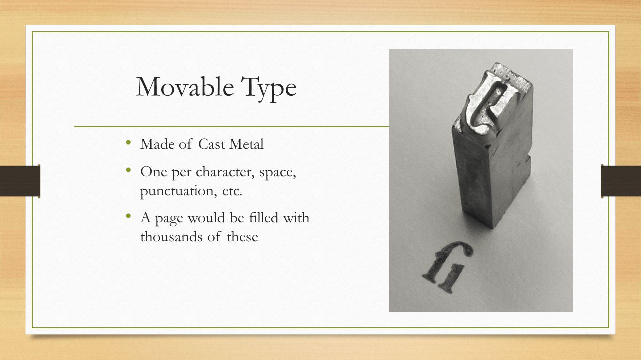 Movable Type Made of Cast Metal
