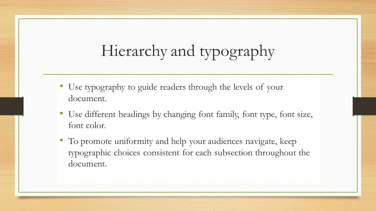 Hierarchy and typography