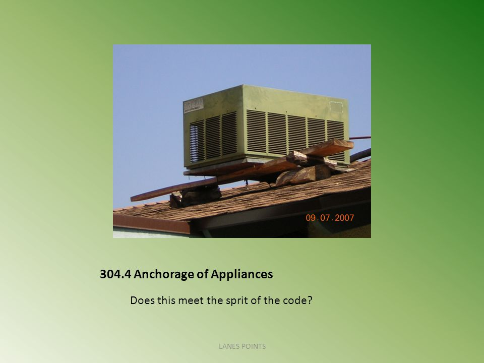 304.4 Anchorage of Appliances