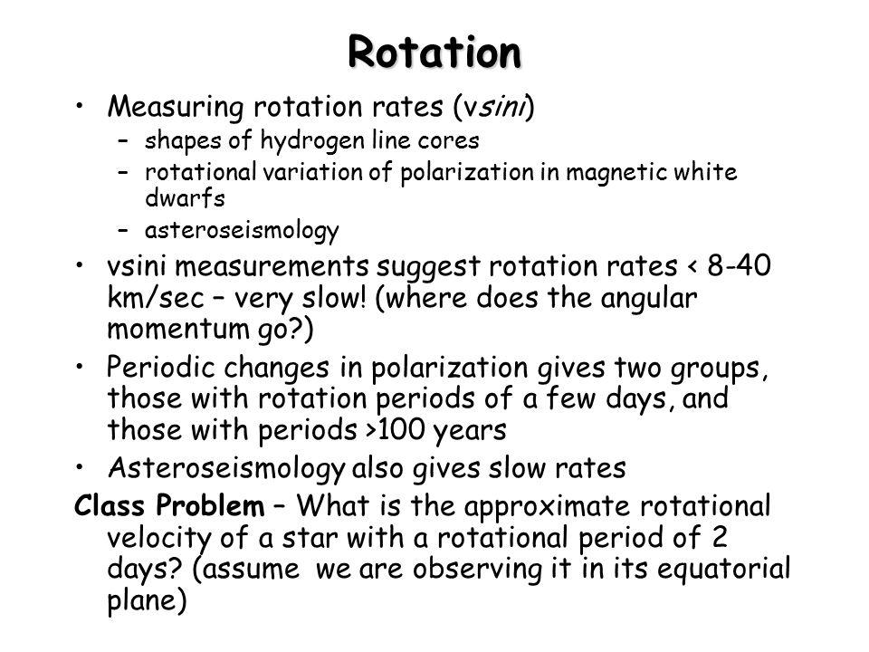 Rotation Measuring rotation rates (vsini)