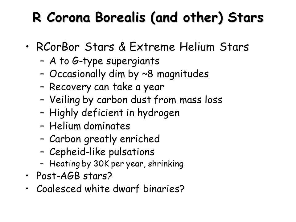 R Corona Borealis (and other) Stars