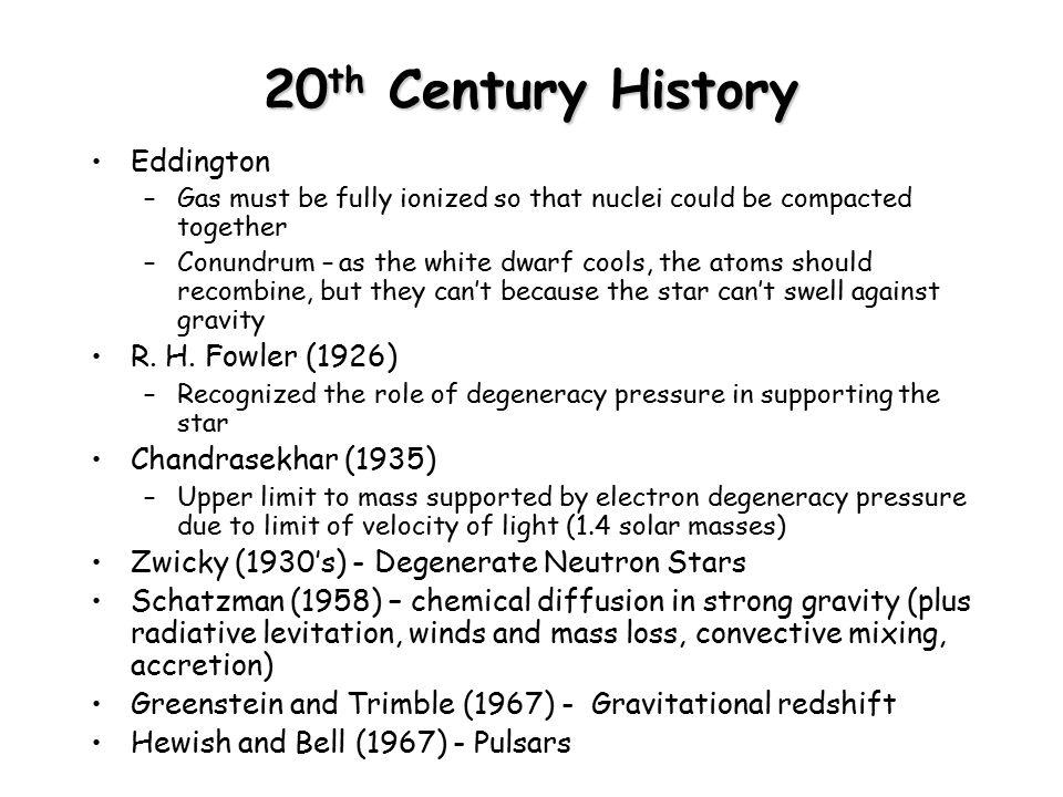 20th Century History Eddington R. H. Fowler (1926)