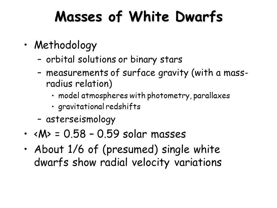 Masses of White Dwarfs Methodology