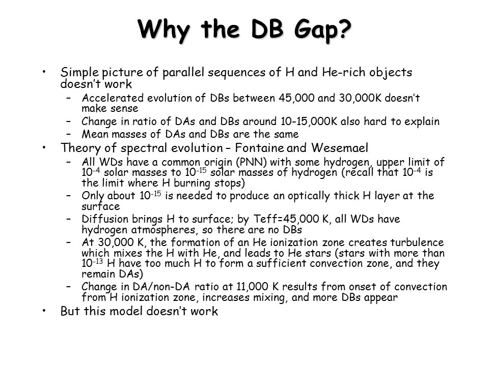 Why the DB Gap Simple picture of parallel sequences of H and He-rich objects doesn't work.