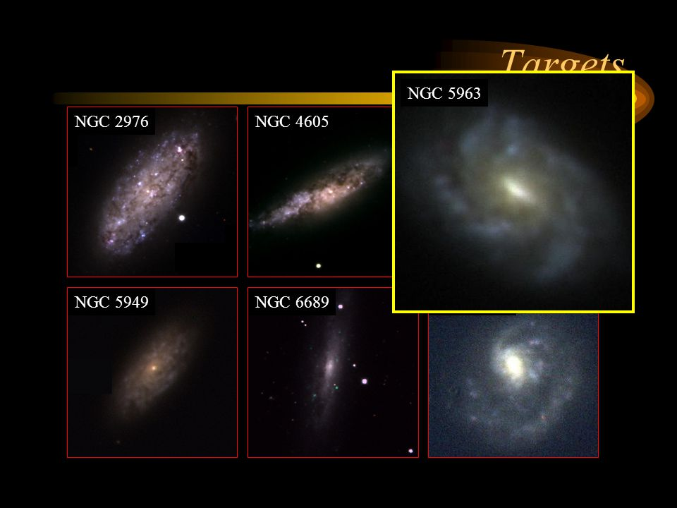 Targets NGC 5963 NGC 2976 NGC 4605 NGC 5949 NGC 6689 NGC 4625