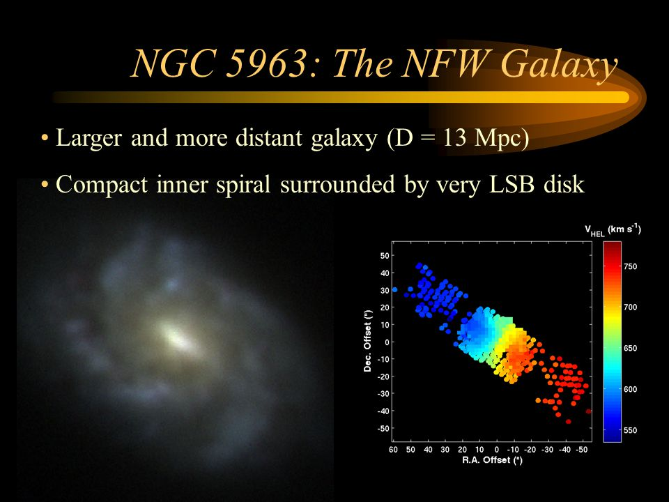 NGC 5963: The NFW Galaxy Larger and more distant galaxy (D = 13 Mpc)