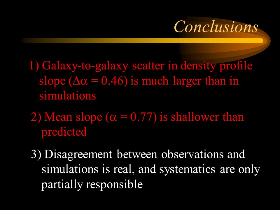 Conclusions 1) Galaxy-to-galaxy scatter in density profile slope (Da = 0.46) is much larger than in simulations.