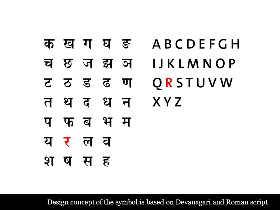 Design concept of the symbol is based on Devanagari and Roman script