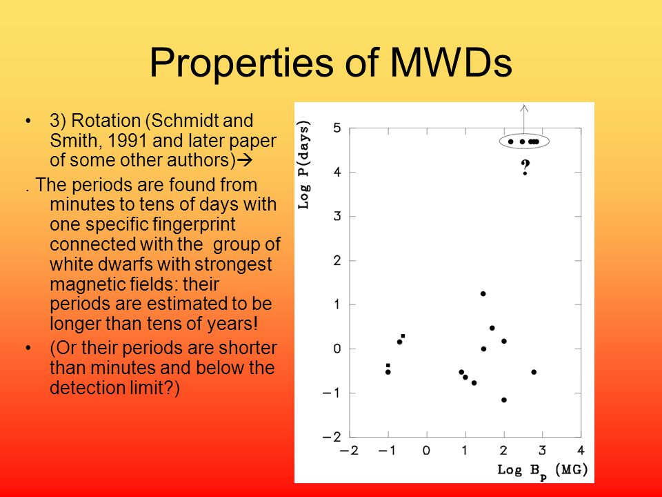 Properties of MWDs 3) Rotation (Schmidt and Smith, 1991 and later paper of some other authors)