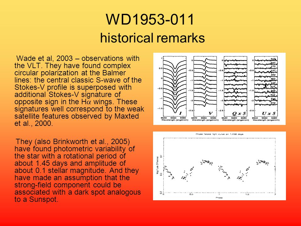 WD1953-011 historical remarks