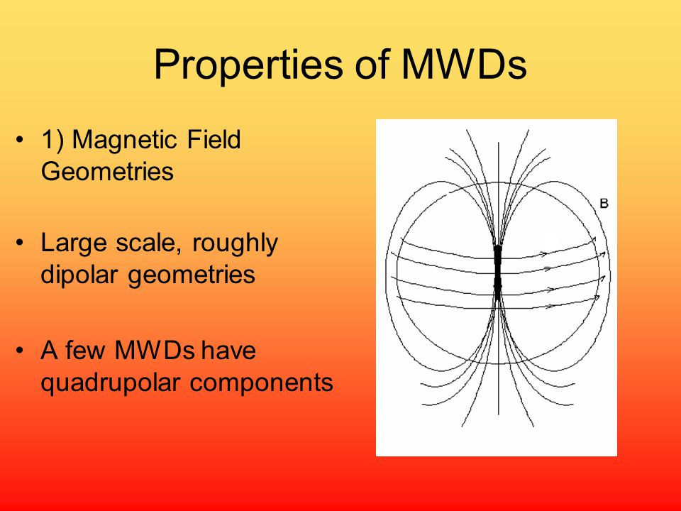 Properties of MWDs 1) Magnetic Field Geometries