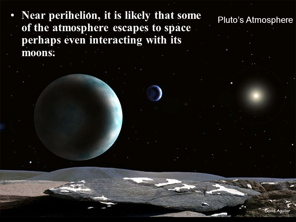 Near perihelion, it is likely that some of the atmosphere escapes to space perhaps even interacting with its moons.