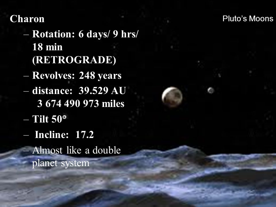 Rotation: 6 days/ 9 hrs/ 18 min (RETROGRADE)