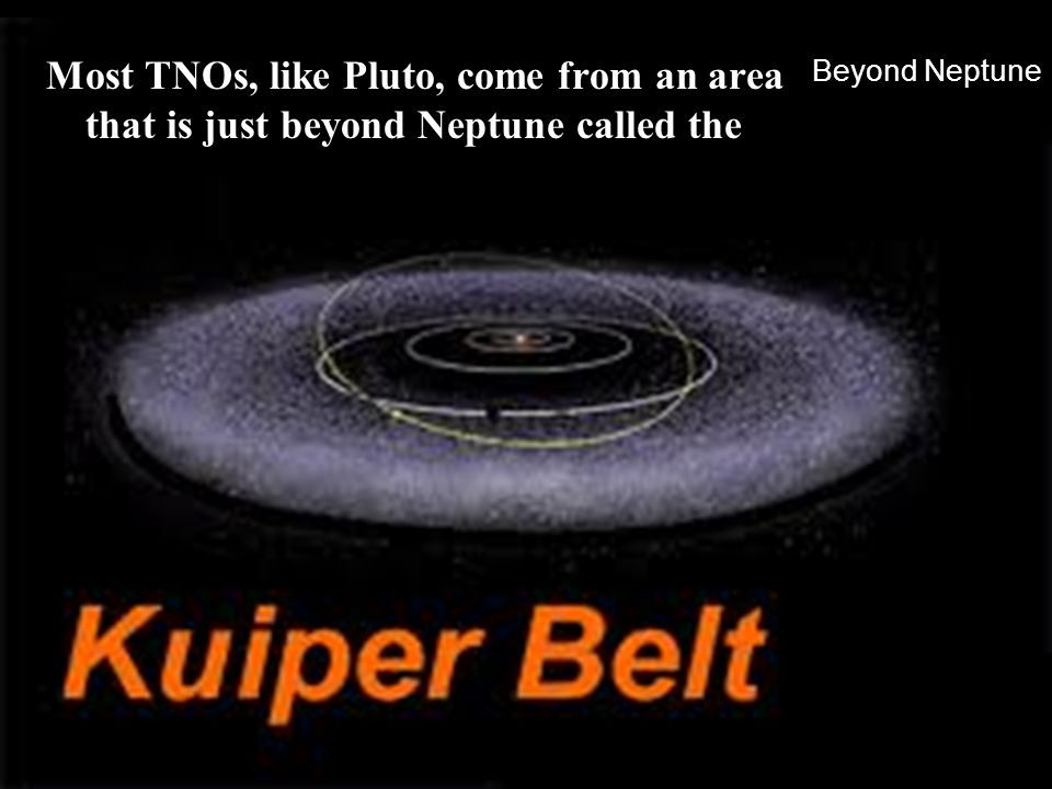 Beyond Neptune Most TNOs, like Pluto, come from an area that is just beyond Neptune called the