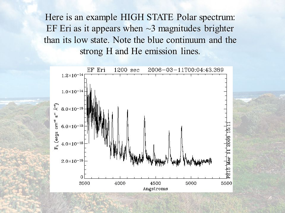 Here is an example HIGH STATE Polar spectrum: