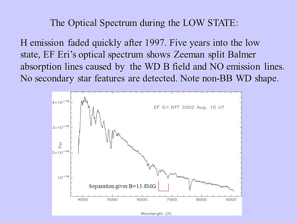 The Optical Spectrum during the LOW STATE: