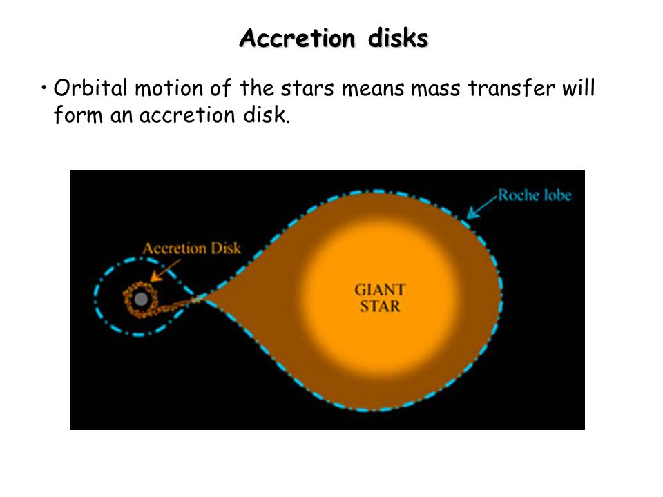 Accretion disks Orbital motion of the stars means mass transfer will form an accretion disk.