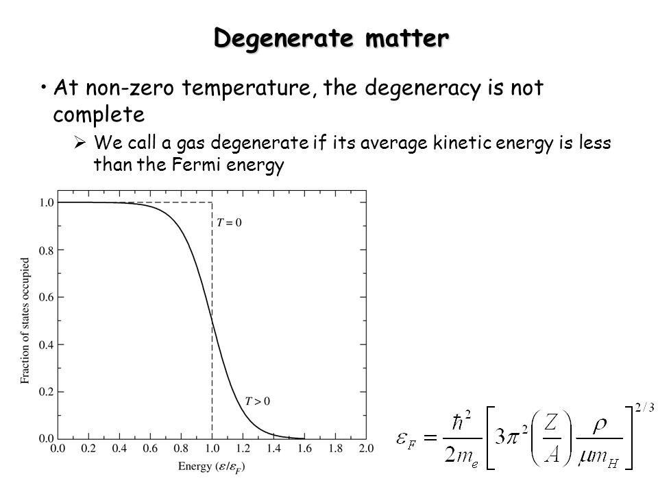 Degenerate matter At non-zero temperature, the degeneracy is not complete.