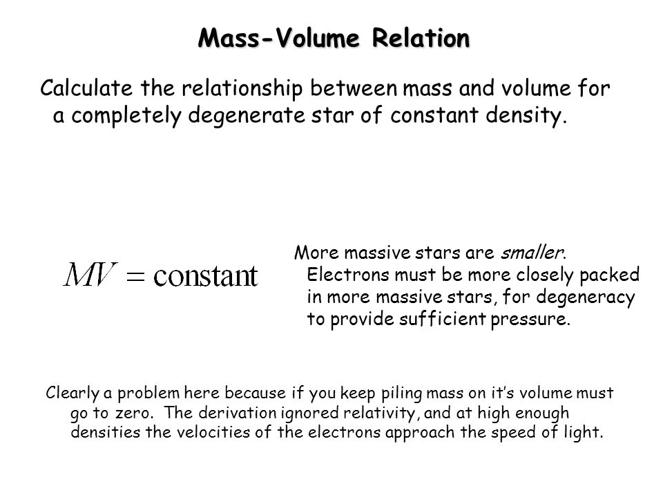 Mass-Volume Relation Calculate the relationship between mass and volume for a completely degenerate star of constant density.