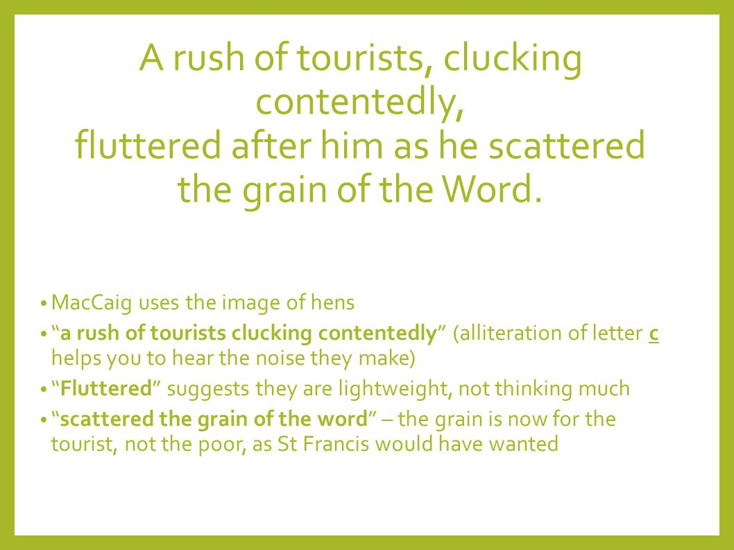 A rush of tourists, clucking contentedly, fluttered after him as he scattered the grain of the Word.