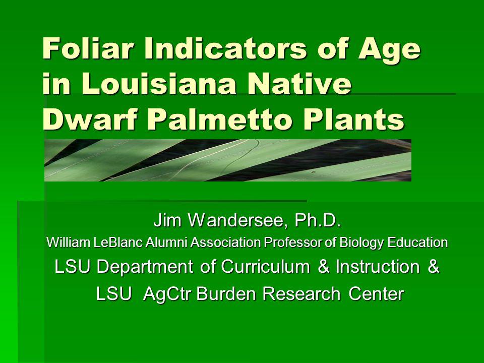 Foliar Indicators of Age in Louisiana Native Dwarf Palmetto Plants