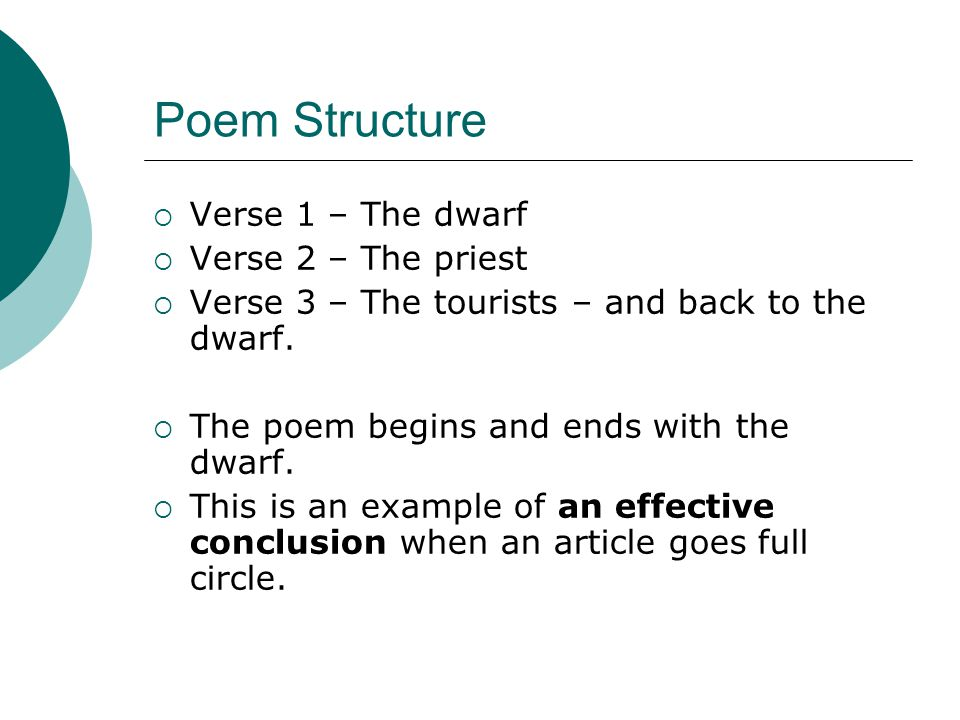 Poem Structure Verse 1 – The dwarf Verse 2 – The priest