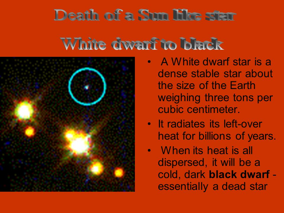 Death of a Sun like star White dwarf to black