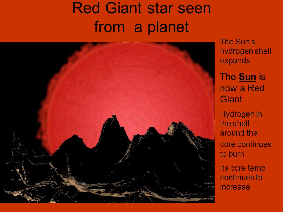 Red Giant star seen from a planet