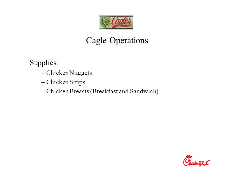 Cagle Operations Supplies: Chicken Nuggets Chicken Strips
