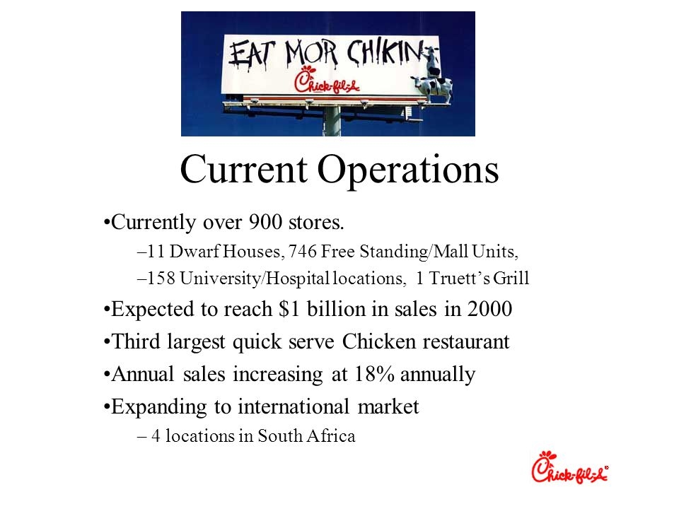 Current Operations Currently over 900 stores.