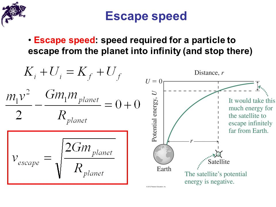 Escape speed Escape speed: speed required for a particle to escape from the planet into infinity (and stop there)