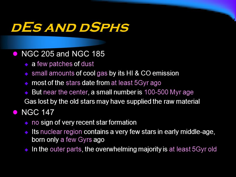 dEs and dSphs NGC 205 and NGC 185 NGC 147 a few patches of dust