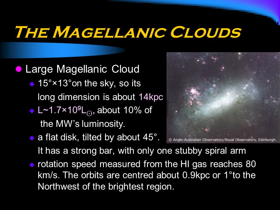 The Magellanic Clouds Large Magellanic Cloud 15°×13°on the sky, so its