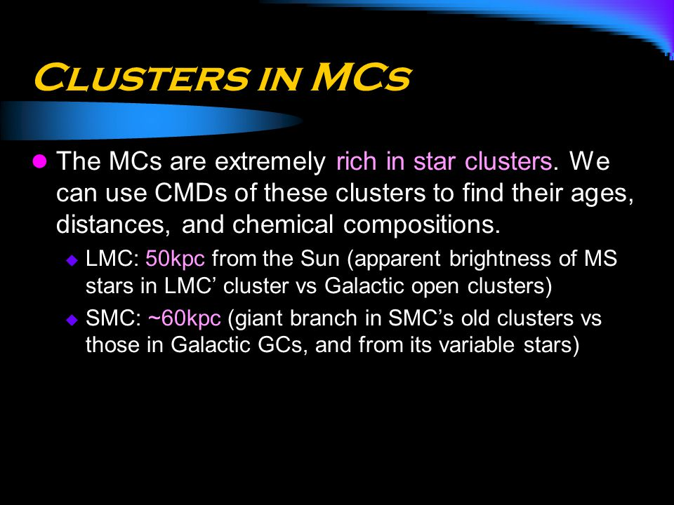 Clusters in MCs